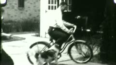 DAD RIDES BIKE Kids Play Family Man Bicycle 1930s Vintage Film Home Movie 4567 Stock Footage