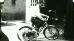 DAD RIDES BIKE Kids Play Family Man Bicycle 1930s Vintage Film Home Movie 4567 - stock footage