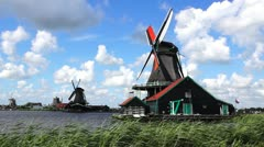 Picturesque landscape with windmills. Zaandijk, Netherlands Stock Footage