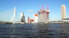 Panoramic view over Erasmus Bridge and Rotterdam port. - stock footage