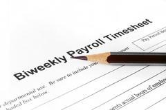 Biweekly payroll timesheet Stock Photos