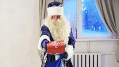 santa claus with gift box - stock footage