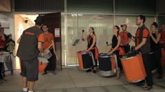 Troupe of brazilian style drumers Stock Footage