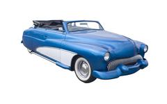retro blue convertible - stock photo