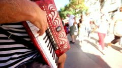 Street accordion player Stock Footage