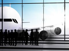 Stock Illustration of business people waiting for the flight
