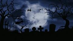 Moon over a scary cemetery Stock Footage
