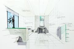 sketch of a bathroom - stock illustration