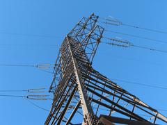 power transmission pole - stock photo