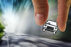 pixel car icon - stock illustration