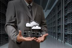 Stock Illustration of businessman show cloud network icon on server room