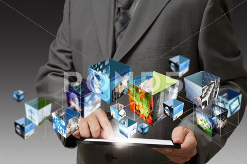 Stock Illustration of business hand holding a touch pad computer and 3d streaming images