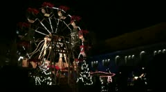 Christmas market ferris wheel Stock Footage