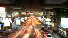 The hustle and bustle of the business district at night. Bangkok, Thailand Stock Footage