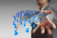 Stock Illustration of businessman hand holds social network