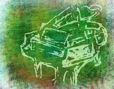 Piano Green Background Stock Illustration