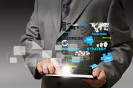 Business man hand touch on tablet computer virtual business process diagram Stock Illustration