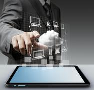 Stock Illustration of virtual cloud network concept