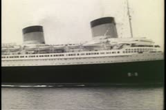 SS Normandie arriving New York harbor in 1935, black and white archival Stock Footage