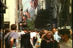Fifth Avenue, New York City, crowd on sidewalk, 1993, crushed shot Stock Footage