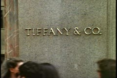 Tiffany sign, Fifth Avenue, New York City, people passing in front of sign - stock footage