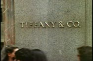 Tiffany sign, Fifth Avenue, New York City, people passing in front of sign Stock Footage