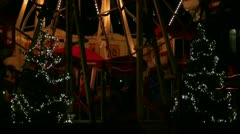 Christmas market ferris wheel entrance Stock Footage