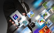 Business hand shows touch screen mobile phone with streaming images Stock Illustration
