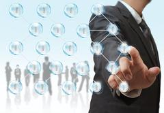 Stock Illustration of businessman and social network structure