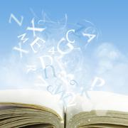 Stock Illustration of open book on a cloud