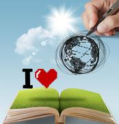 Stock Illustration of hand drawn i love the earth