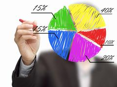 Stock Illustration of male hand drawing a chart