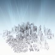 Image of 3d render of city scape Stock Illustration