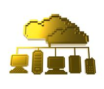Stock Illustration of golden pixel cloud network icon