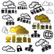 cloud network pixel icon - stock illustration