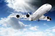 Stock Illustration of 3d large passenger plane flying in the blue sky