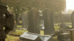 Celtic Cross in Churchyard Stock Footage