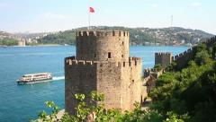 Flag Tower of Rumelihisari Fort Stock Footage