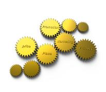 Stock Illustration of golden gear with marketing diagram