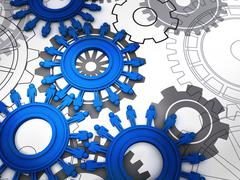 Stock Illustration of people cogs