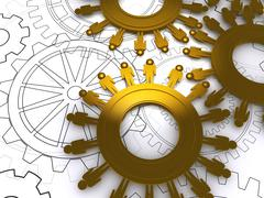 Stock Illustration of golden people cogs as concept