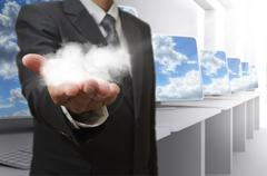 business man hand shows cloud network concept - stock illustration
