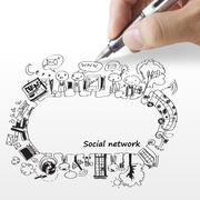 hand draws a social network - stock illustration