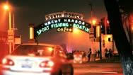 Famous Santa Monica Sign Pan Stock Footage
