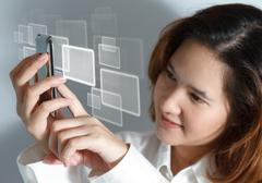 woman showing display of her new touch mobile cell phone - stock illustration