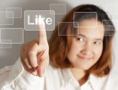 Stock Illustration of businesswoman hand push like virtual button
