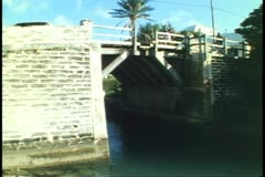 Somerset Bridge, world's smallest drawbridge, Somerset, Bermuda, traffic - stock footage