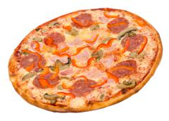 Pizza with bacon, peperoni and mushrooms Stock Photos