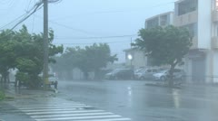 Violent Hurricane Eye Wall Wind And Rain Hit City Stock Footage