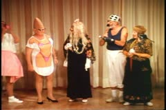 Adult's masquerade contest, the winner, Conehead, on a cruise ship Stock Footage